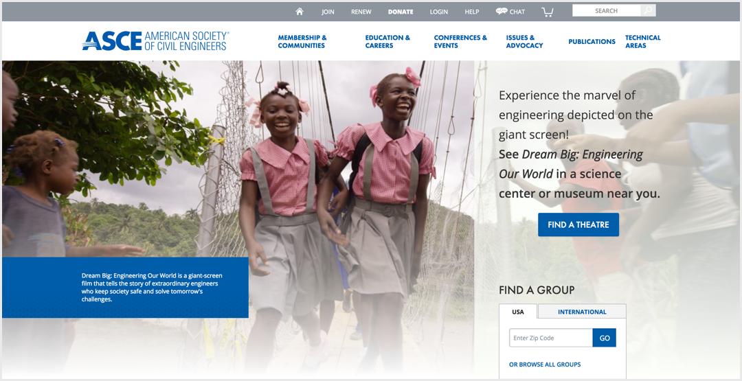 Screenshot of ASCE.org