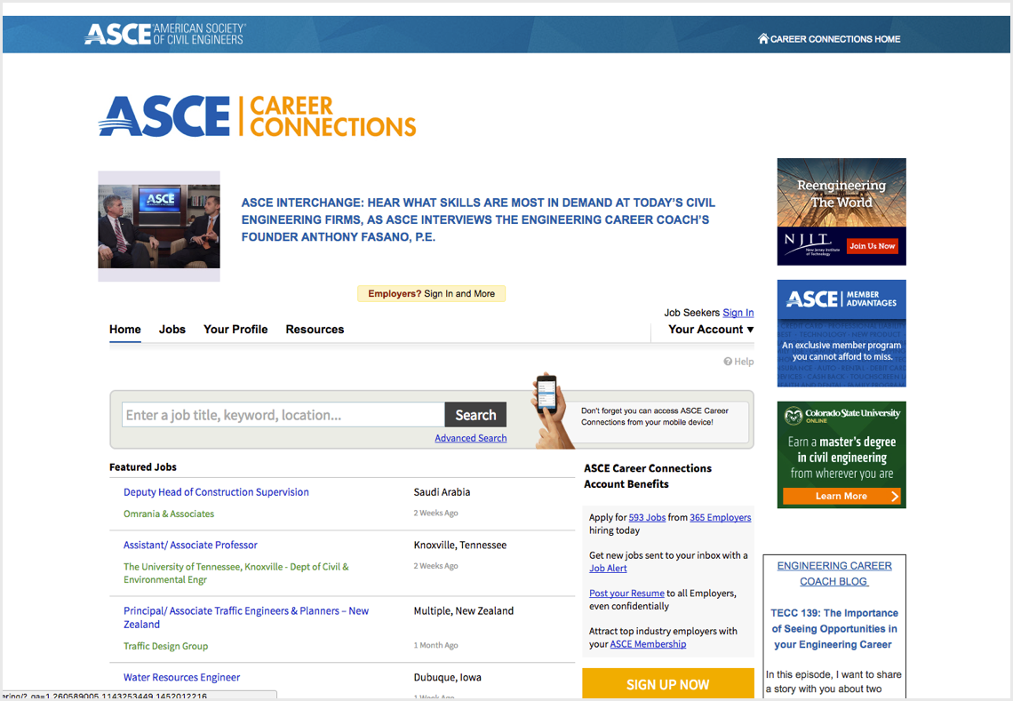 Screenshot of careers.asce.org