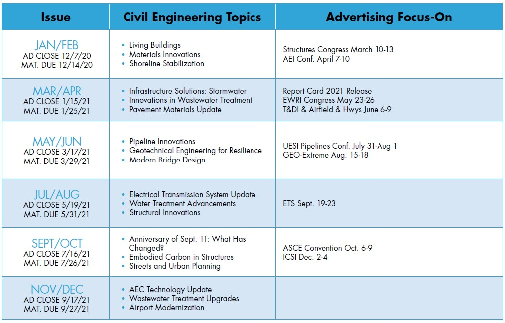 Civil Engineering magazine editorial calendar